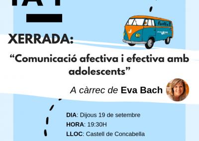 """19/09/2019 """"Comunicació afectiva i efectiva amb adolescents"""" Per Eva Bach"""